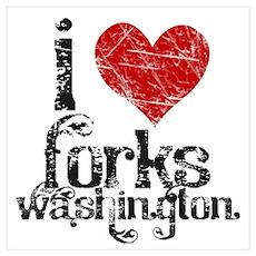 I Love Forks Washington Poster
