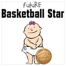Baby Girl Basketball Star Framed Nursery Print Poster