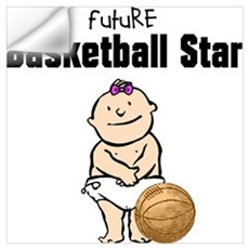 Baby Girl Basketball Star Framed Nursery Print Wall Decal
