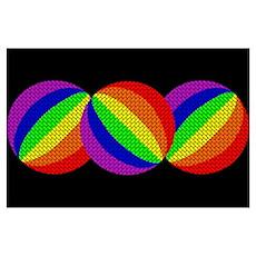 3 RAINBOW BALLS ON BLACK Poster