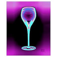 Iceberry Art Deco Wine Glass Poster