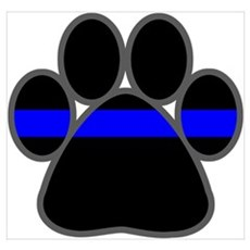 Blue Line K9 Paw Poster