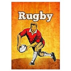 rugby player passing ball Poster