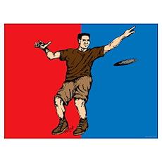 Disc Golfer Flag Poster