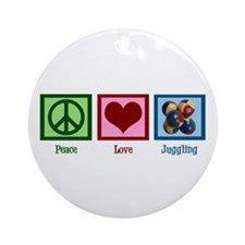 Peace Love Juggling Ornament (Round)