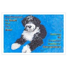 Portuguese Water Dog Black wi Poster