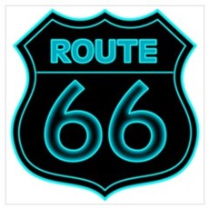 Route 66 Neon - Teal Poster
