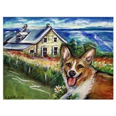Happy Corgi home sweet home Poster