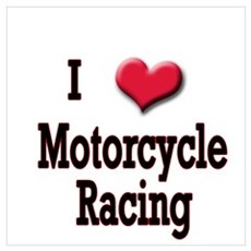I Love (Heart) Motorcycle Rac Poster