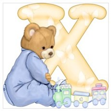 Teddy Alphabet X Yellow Poster