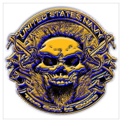 USN Navy Blue and Gold Skull Poster