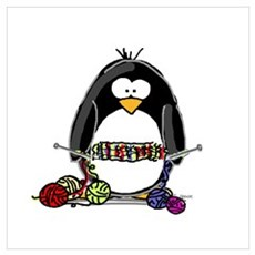 Knitting Penguin Poster