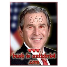 "President Antichrist! Bush = Satan 11 x 15"" Canvas Art"