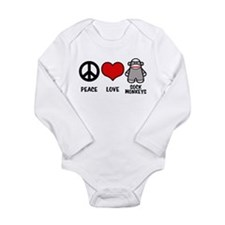 Peace love Sock Monkeys Long Sleeve Infant Bodysui