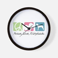 Peace, Love, Ridgebacks Wall Clock