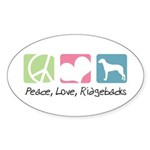 Peace, Love, Ridgebacks Sticker (Oval 10 pk)
