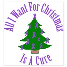 All I Want For Christmas Is A Cure (Purple Ribbon) Canvas Art