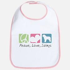 Peace, Love, Saints Bib
