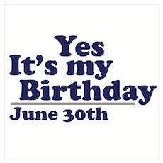June 30 Birthday Poster