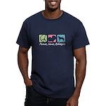 Peace, Love, Malinois Men's Fitted T-Shirt (dark)