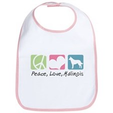 Peace, Love, Malinois Bib