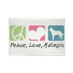 Peace, Love, Malinois Rectangle Magnet (100 pack)