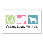 Peace, Love, Malinois Sticker (Rectangle 10 pk)