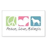 Peace, Love, Malinois Sticker (Rectangle 50 pk)