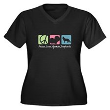 Peace, Love, German Shepherds Women's Plus Size V-