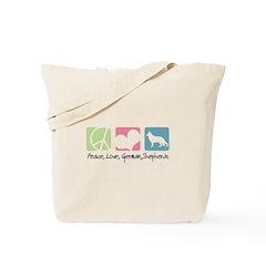 Peace, Love, German Shepherds Tote Bag