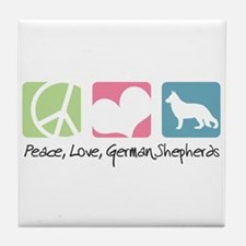 Peace, Love, German Shepherds Tile Coaster