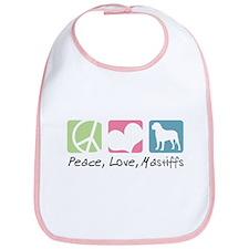 Peace, Love, Mastiffs Bib