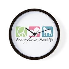 Peace, Love, Mastiffs Wall Clock