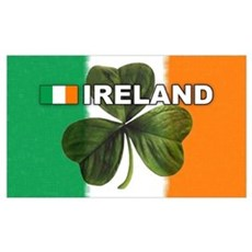 Irish Flag and Clover Poster