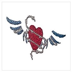 LEATHER HEART-WINGS-TILED Poster