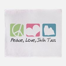 Peace, Love, Shih Tzus Throw Blanket