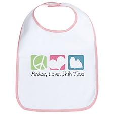 Peace, Love, Shih Tzus Bib