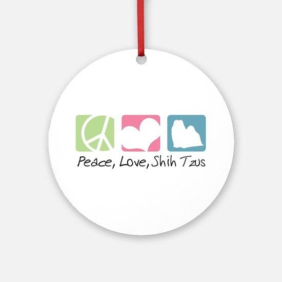 Peace, Love, Shih Tzus Ornament (Round)