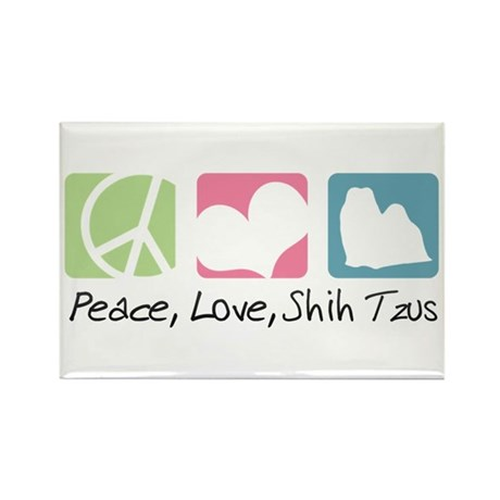 Peace, Love, Shih Tzus Rectangle Magnet (10 pack)