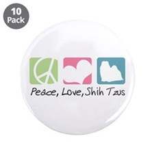 "Peace, Love, Shih Tzus 3.5"" Button (10 pack)"