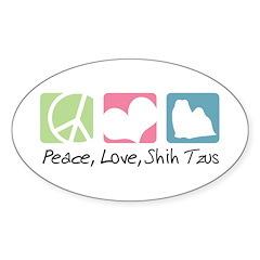 Peace, Love, Shih Tzus Sticker (Oval)