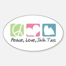 Peace, Love, Shih Tzus Sticker (Oval)