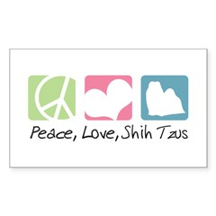 Peace, Love, Shih Tzus Sticker (Rectangle 10 pk)