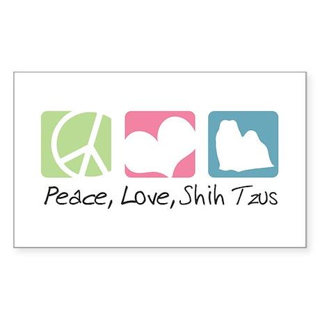 Peace, Love, Shih Tzus Sticker (Rectangle 50 pk)