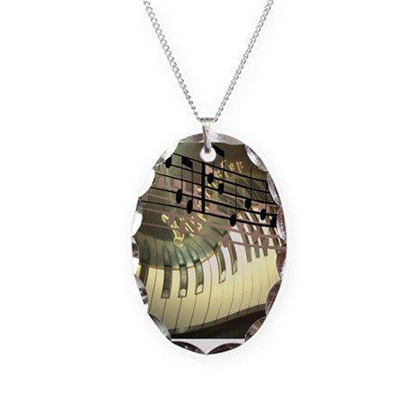 Abstract Piano Necklace Oval Charm