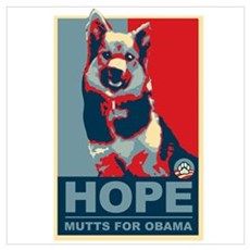Hope Mutts for Obama, Shepard Poster