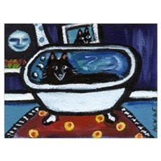 Schipperke bath moon smile Poster