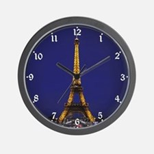 Eiffel Tower at Blue Hour Wall Clock