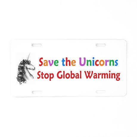 Save the Unicorns! Aluminum License Plate