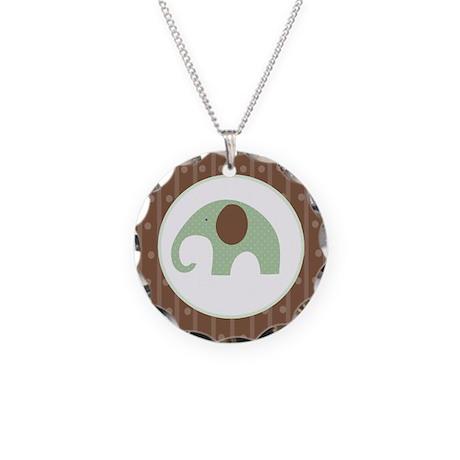 Dottie Elephant Green Necklace Circle Charm